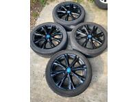"17"" 4x108 Ford Fiesta Ecoboost Gunmetal Black Alloy Wheels With Tyres Zetec St J"