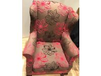 Arm chair, high backed winged, perfect condition