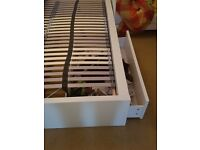Ikea MALM white double bed with 2 drawers