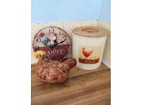 Breadbin Hen and clock