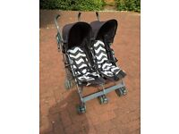 Mammas and Papas Double Buggy with rain cover, excellent condition, hardly used