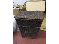 laundry basket wicker dark colour with flip lid