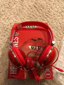 m&m New With Box Red Headphones