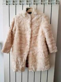 Stunning Girls Ted Baker Cream Faux fur Coat Age 9