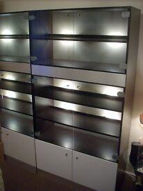 """Starlight"" Retro Glass Display Cabinets with interior lighting"