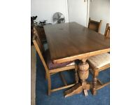 Solid Wood Dining Table & 4 chairs.