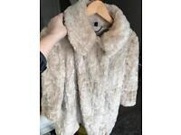 Topshop Unique Label Cream Faux Fur Coat