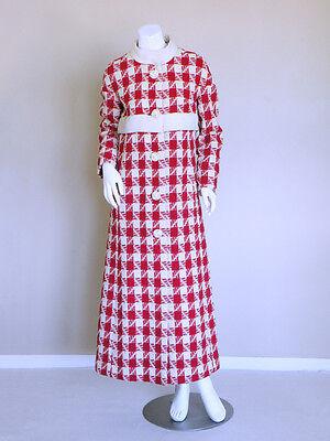 vtg 60s AGNONA couture spaceage mod op art 100% VICUNA houndstooth coat jacket S
