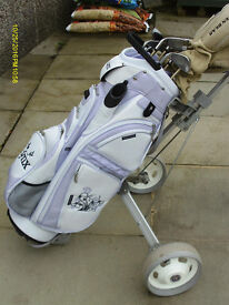 LADIES GOLDEN BEAR GOLF CLUBS WITH BAG & TROLLEY