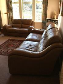 Fabulous real leather suite, 3&2 seater sofas, under a year old, tan