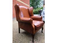 Laura Ashley brown leather armchair