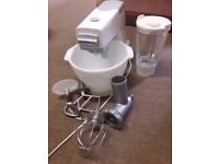 Kenwood Chef 701 A vintage pale blue and white with liquidiser and mincer