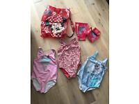 Girl swim bag, speedo armbands, 3x swimming costume 5yrs (next, gap, M&S)