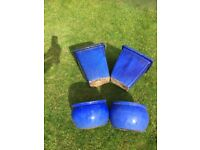 Two Pairs of Blue Glazed Pots