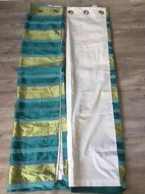 "Next curtains 66 x 72"" or 168 x 173 cm, base colour green with valour stripes"