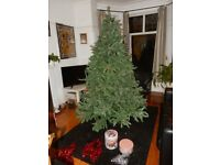 CAN DELIVER - LUXURY 7FT TREE - WAS £ 120 ! FROSTED BERRY PINE - CHRISTMAS TREE 213 cm