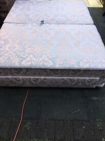 Quality King Size End Drawer Divan Bed and 2000 Pocket Sprung Mattress. Immaculate Condition.