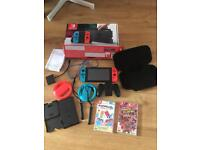 Nintendo Switch with accesories and 6 games