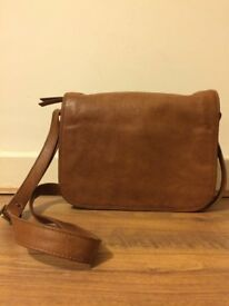 Small Tan Leather Handbag Satchel Shoulder Bag