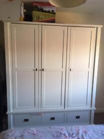REDUCED White 3 Door Solid Wood Wardrobe