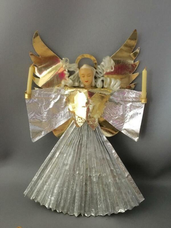 ANTIQUE VTG RAUSCHGOLD WEST GERMANY WAX & FOIL XMAS ANGEL TREE TOPPER w CANDLES