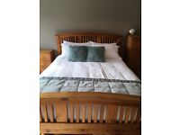 Solid New Zealand pine king side bed, wardrobe, chest of drawers and bedside drawers