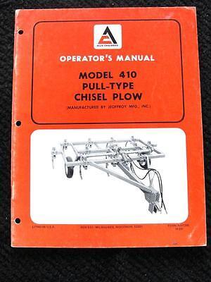 Allis Chalmers Model 410 Pull-type Chisel Plow Operator Manual Jeoffroy Mfg Co