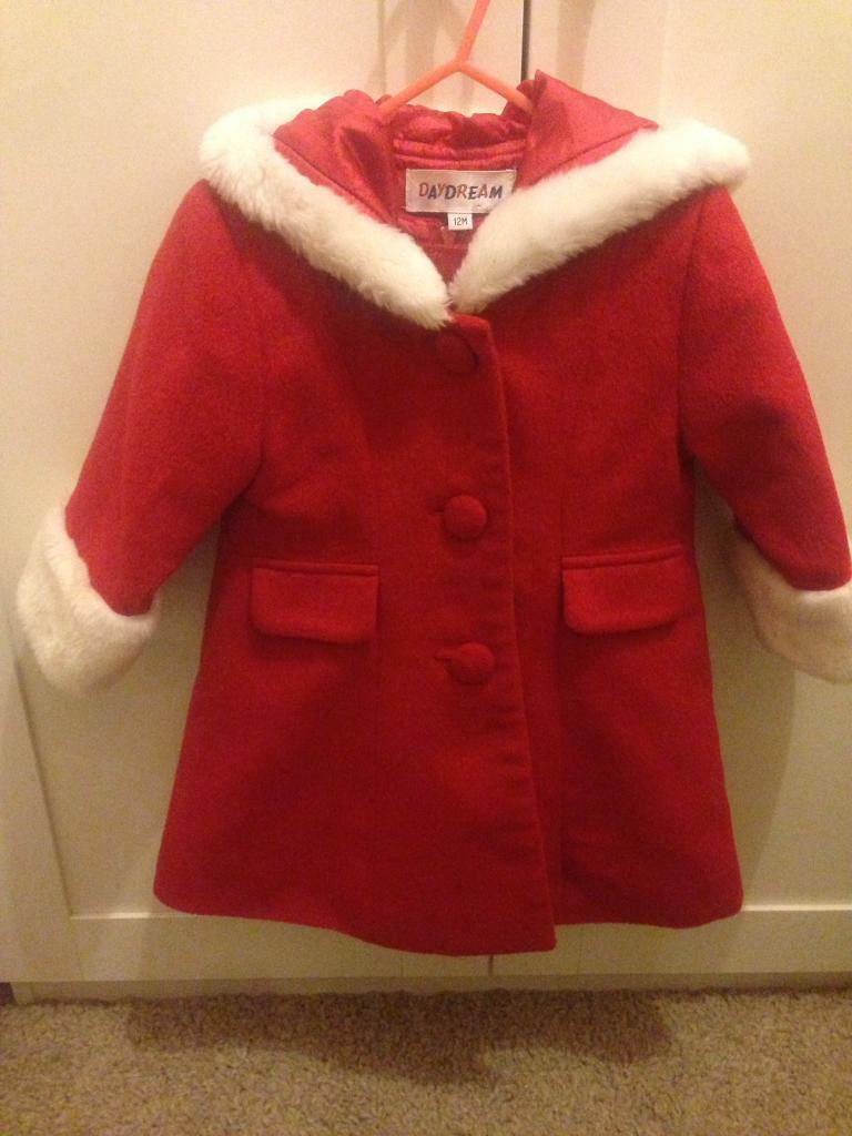 Girls red dress with matching coat Age 12 months