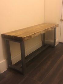 timber and industrial steel bench