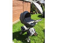 Stokke XPlory Black-Melange Stroller, Carrycot and loads of extras