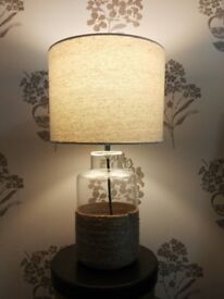 lamp with bulb, linen shade