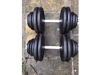 63.5kg Cast Iron Adjustable Dumbbell Weights Set ( squat, rack, bench, press, dumbell, ez, barbell)