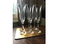 CRYSTAL CHAMPAGNE FLUTES • 6x190ml