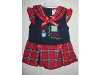 Brand New Girls Dress Navy Blue Red Chex