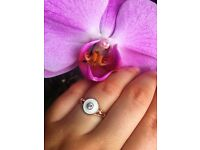 Ring 925 Sterling Silver 14ct Rose Gold Plated White Enamel Fianit Stone Size M-½ Brand New