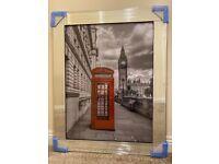 *NEW* London Big Ben Telephone Box Glass Picture Mirror Framed Liquid Art (95x75cm)