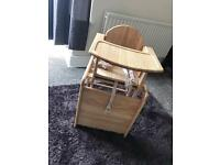Wooden high chair/table