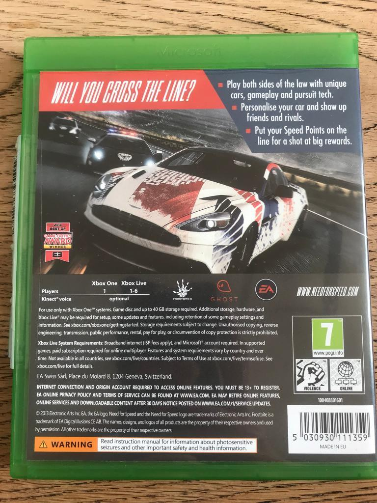 Need For Speed Rivals Xbox One Excellent Condition In Lostwithiel