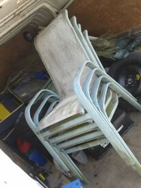 4 X ALUMINIUM ,VERY LIGHT AND STRONG GARDEN PATIO CHAIRS, STURDY AND STRONG BUT NEEDS TO BE CLEANED