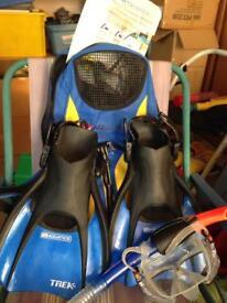 Aquatics professional adult snorkelling set, travel bag