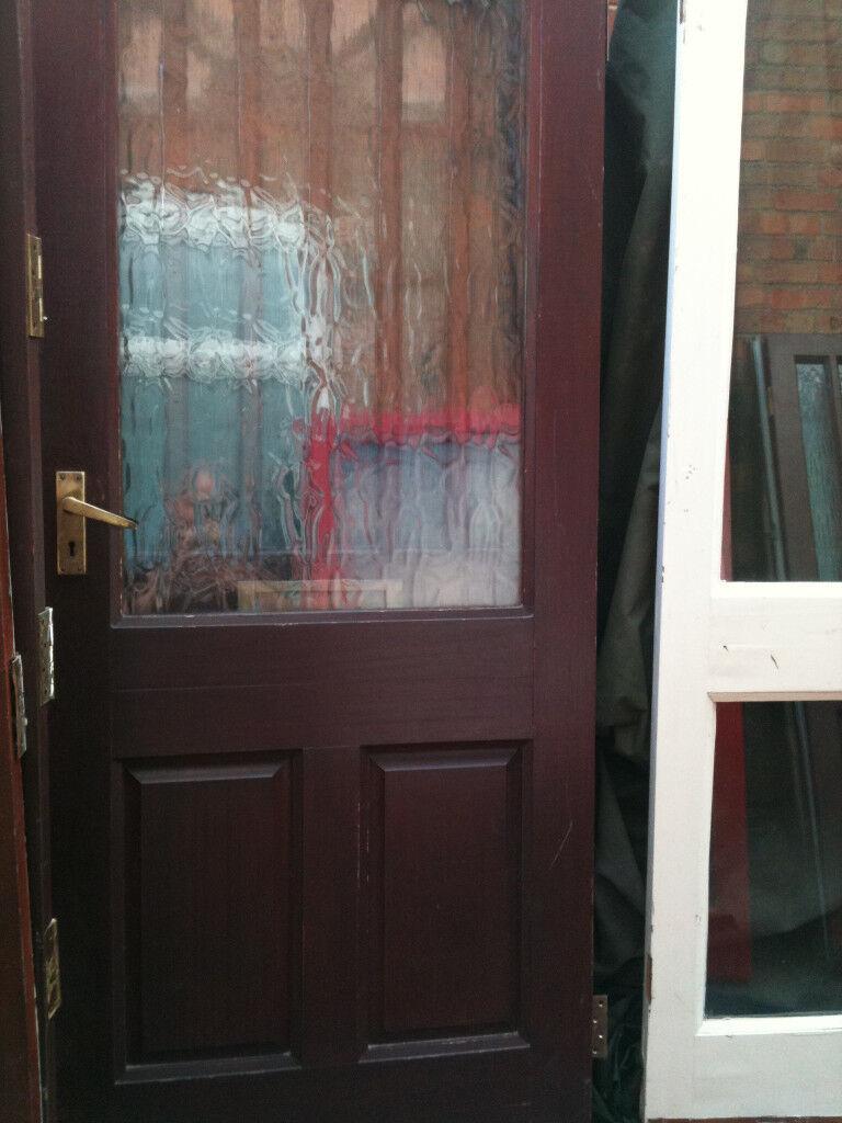 Exterior hardwood door with large crazed double glazed panel