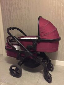 iCandy Peach Blossom Twin Pushchair, 2 x Maxi-Cosi Pebble Plus Car Seats & 2 x Isofix 2way bases