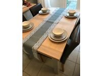 Brand New Grey Burlap and White Lace Table Runner