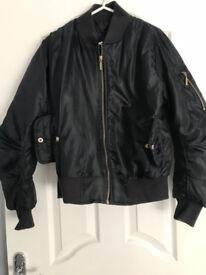 Womens Black Bomber Jacket Size 10