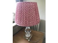 2 Table lamps with pink patterned shades