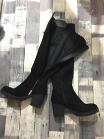 Brand new Black velvet knee high boots size 8