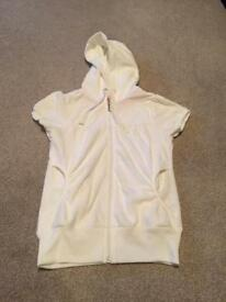 White short sleeved velour zip up top size 8