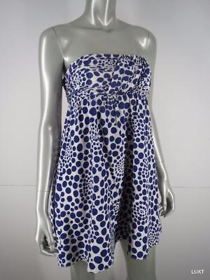 Alice Olivia Strapless Dress Sz S Silk Blue White Dot Babydoll Fit Flare Mini