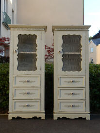 Pair of matching vintage shabby chic tall cabinets