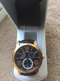 Lorus mans watch with real leather strap